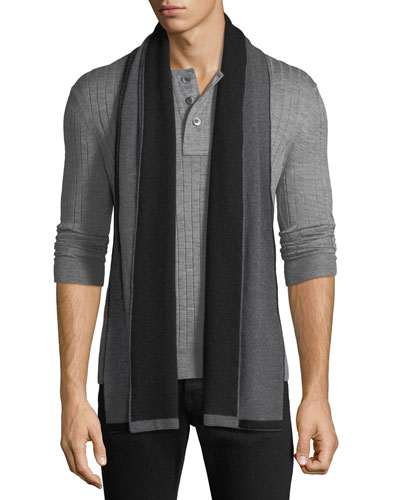 Men's Double-Face Cashmere Knit Scarf