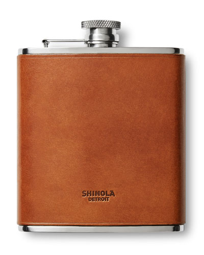 Men's Leather-Wrapped Hip Flask