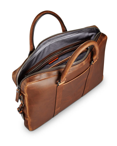 Shinola Men's Navigator Leather Laptop Briefcase