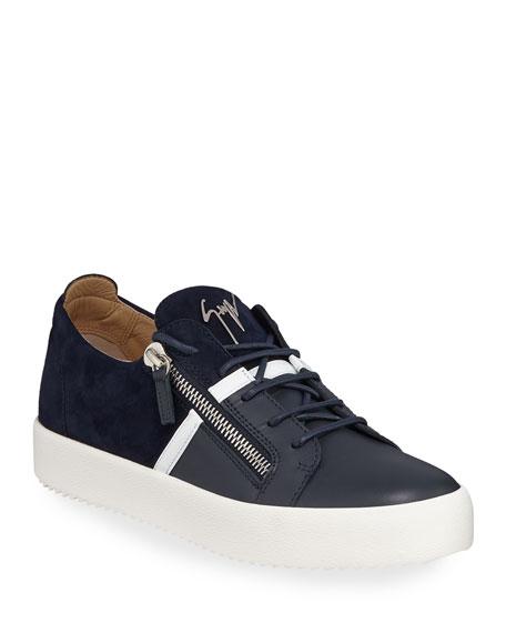 5589d2a136cb Giuseppe Zanotti Men s Mixed-Media Double-Zip Low-Top Sneakers