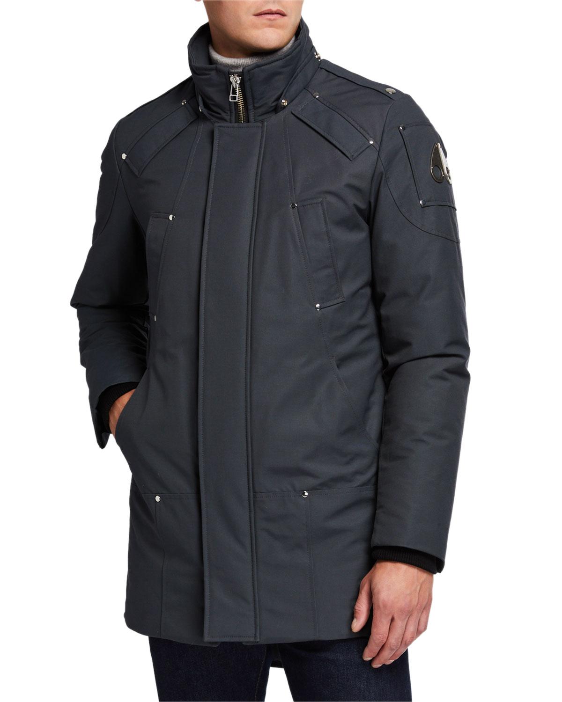 Black Coyote Fur Coat Neiman Marcus >> Men S Stirling Down Parka Coat With Fur Trim