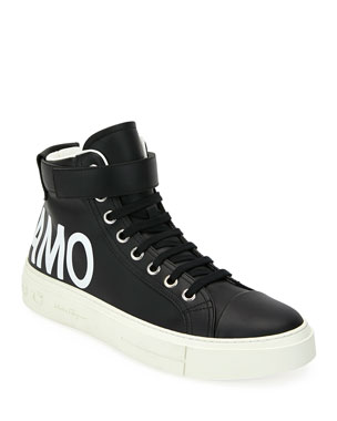 2c8930fecd4 Salvatore Ferragamo Men s Ayr 2 High-Top Leather Sneakers w  Grip-Strap  Ankle