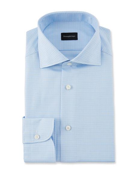 Ermenegildo Zegna Cottons MEN'S GLEN CHECK DRESS SHIRT