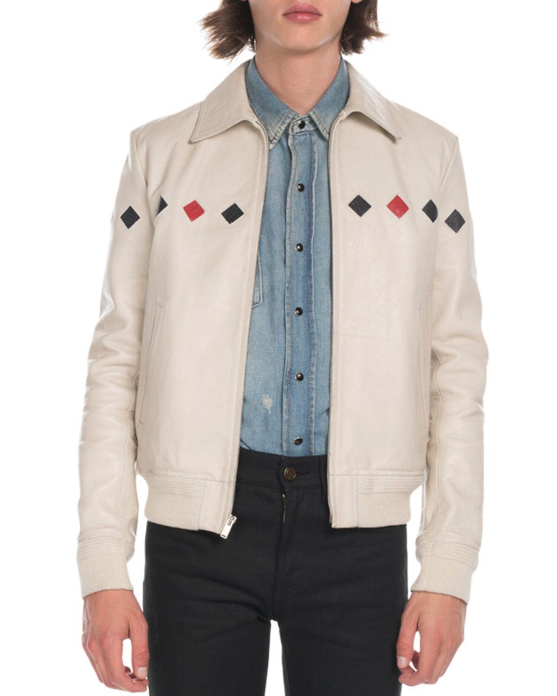 4304e8b12a7cb Saint Laurent Men s Teddy Diamond-Detail Leather Jacket