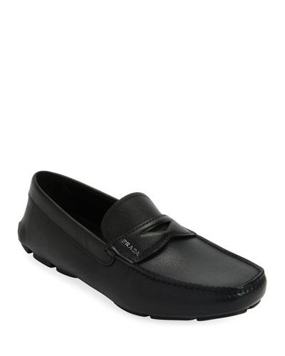 Men's Saffiano Leather Driver Shoes