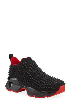 Christian Louboutin Men's Spiked Sock 30 Neoprene Sneakers