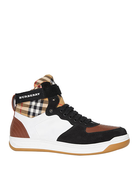 Burberry Men's Dennis Vintage Check High-Top Leather Sneakers
