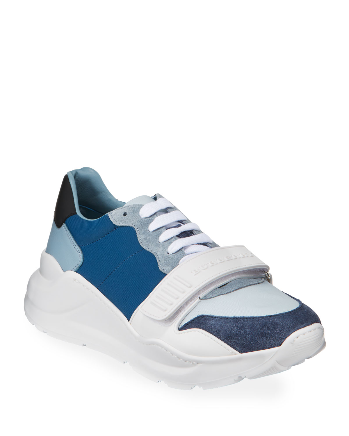 903e0d37ad9146 Burberry Men's Regis Neoprene Low-Top Sneakers w/ Exaggerated Sole, Blue