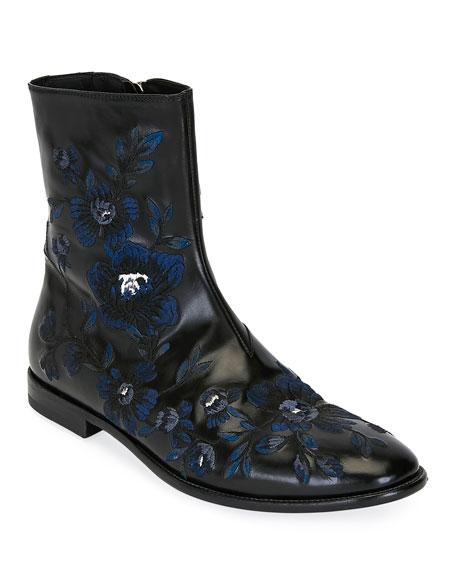 Alexander McQueen Men's Embroidered Leather Half-Boot