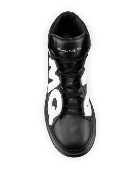 Alexander McQueen Men's High-Top Oversized Graphic Sneaker in Leather