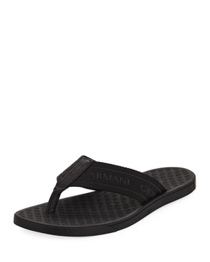 f7bda74ff Men's Logo Jacquard Flip-Flops. $345 · Giorgio Armani Logo Jacquard Thong  Sandals