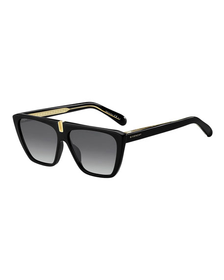 Givenchy Men's Flat-Top Plastic Sunglasses