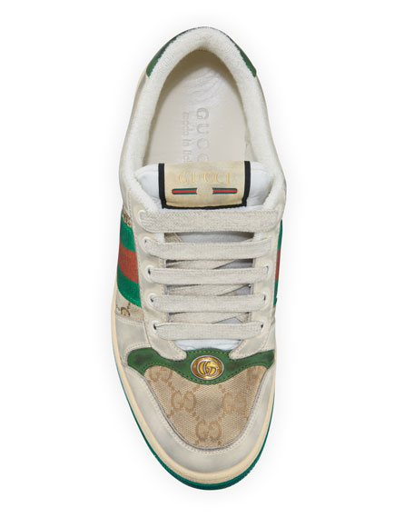 Gucci Men's Distressed GG Canvas and Leather Sneakers