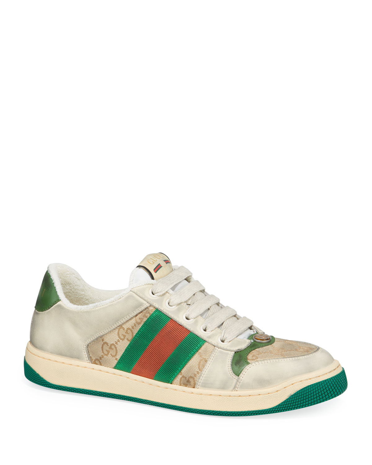 91424283ee0 Gucci Men s Distressed GG Canvas and Leather Sneakers