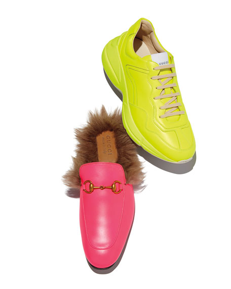 3096927fa Gucci Men's Rhyton Fluorescent Leather Sneakers | Neiman Marcus