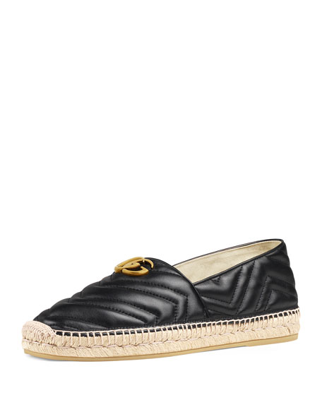 Gucci Men's Quilted Leather Espadrilles With Double G