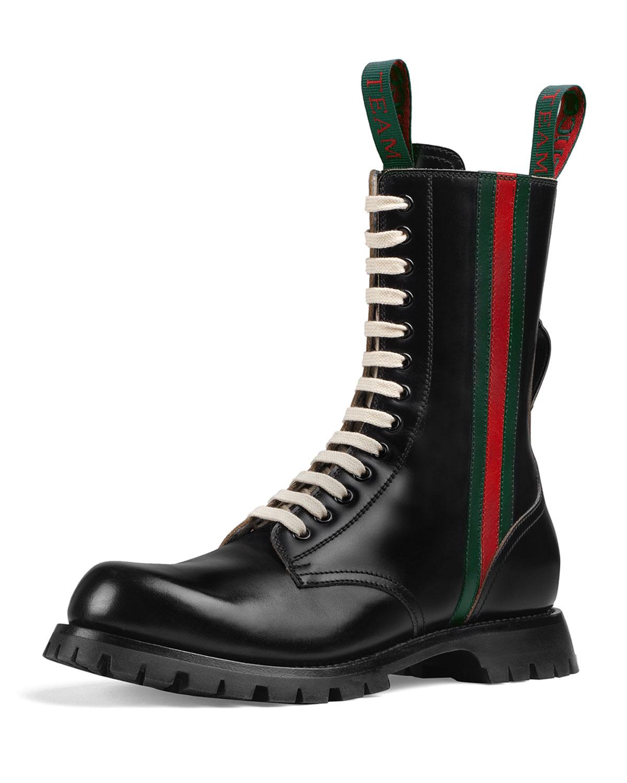e98356408 Gucci Men's Black Leather Boots With Web   Neiman Marcus