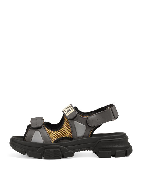 Gucci Men's Leather and Mesh Sandals with Chunky Heel