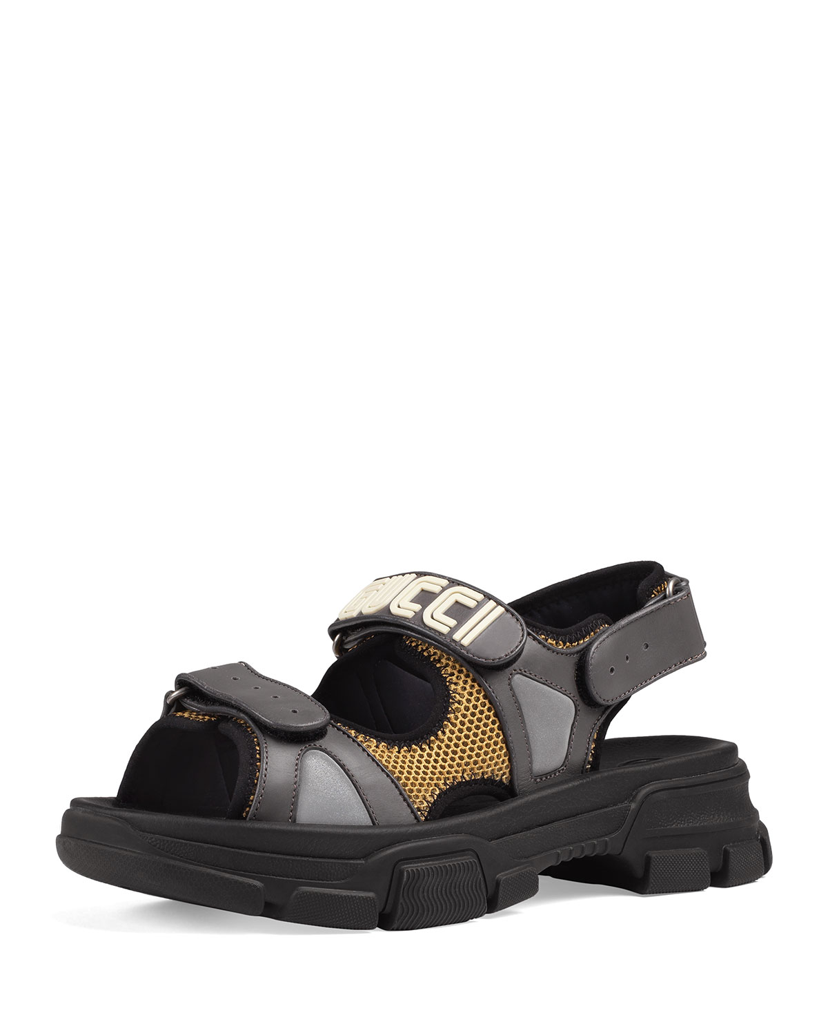 e77fd6ad0f Men's Leather and Mesh Sandals with Chunky Heel