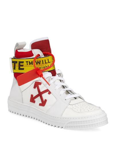 Men's Industrial Belt-Strap High-Top Sneakers