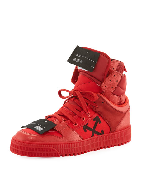 Off-White Men's Off Court High-Top Leather Sneakers, Red