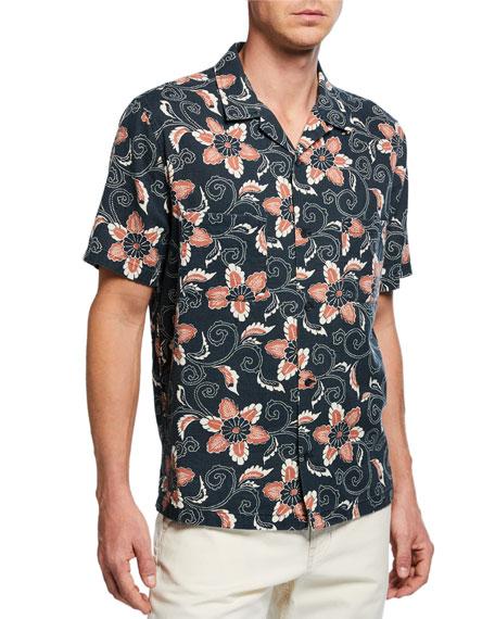 Vince Men's Short-Sleeve Double Face Floral Shirt