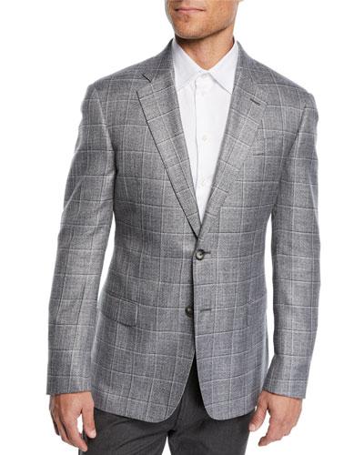 Men's Bamboo Windowpane Sport Coat