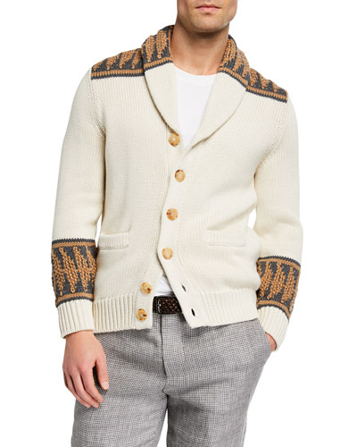 Men's Shawl-Collar Cotton Cardigan