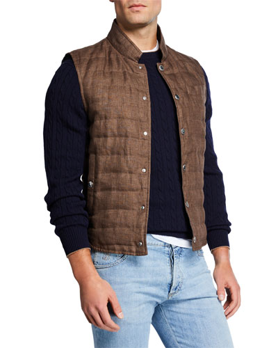 Men's Quilted Snap-Front Vest