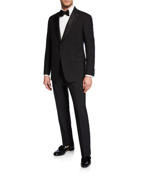 Image 2 of 4: Emporio Armani Men's Tonal Geometric Two-Piece Tuxedo Suit