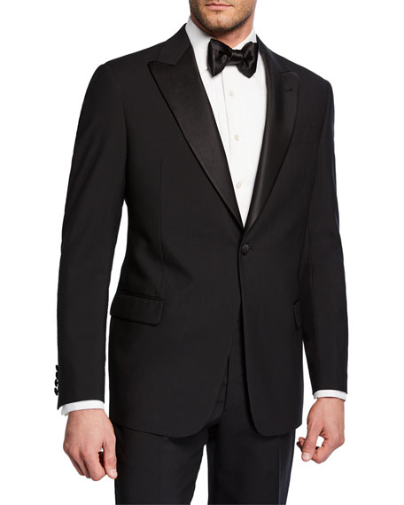 Image 1 of 4: Emporio Armani Men's Tonal Geometric Two-Piece Tuxedo Suit