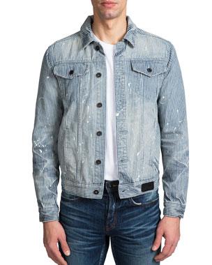 514d7ba7 PRPS Men's Hickory Stripe Denim Jacket