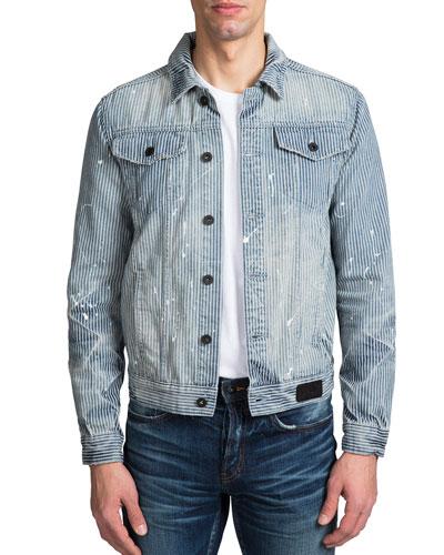 Men's Hickory Stripe Denim Jacket