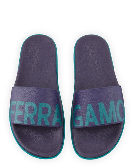 Salvatore Ferragamo Men's Amos Leather Slide Sandals