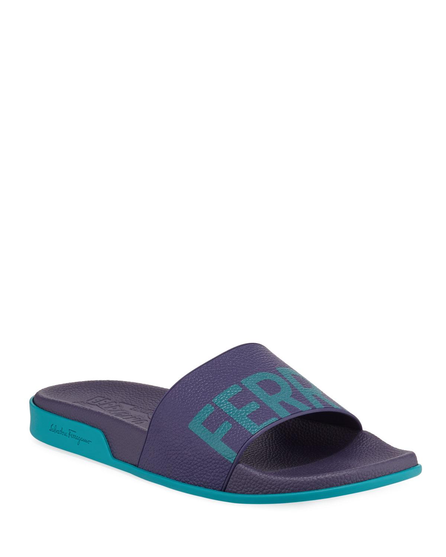 64d9ce00d Salvatore Ferragamo Men s Amos Leather Slide Sandals