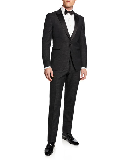 BOSS Men's Broken Plaid 3-Piece Peak-Lapel Tuxedo Suit