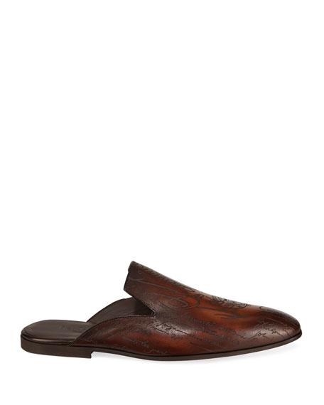 Berluti Men's Amazon Scritto Leather Mule Slippers