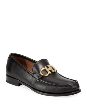 d49cc775da0 Salvatore Ferragamo Men s Leather Twisting Gancini Loafers