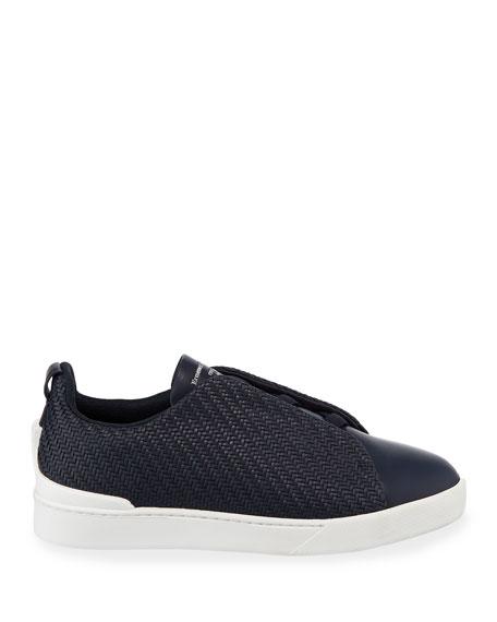 Ermenegildo Zegna Men's Triple Stitch Pelle Low-Top Sneakers