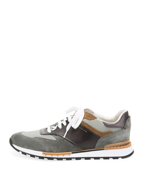 Berluti Men's Suede and Leather Running Sneakers