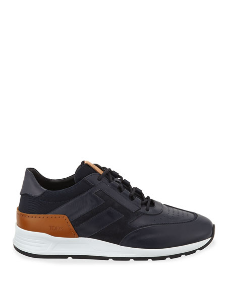 Tod's Men's 56-B Mesh & Leather Trainer Sneakers, Navy
