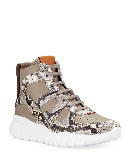 Bally Men's Birko Snake-Trim High-Top Sneakers