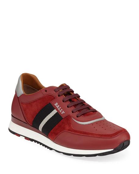 Bally Men's Aston Leather Sneakers w/ Trainspotting Stripe