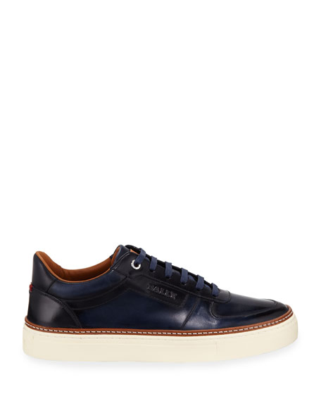 Bally Men's Hens Burnished Leather Sneakers