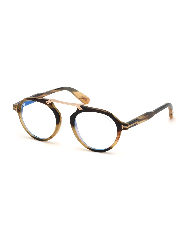 fa196ebade4 TOM FORD Men s Tom N.15 Shiny Horn Round Blue-Blocking Glasses ...