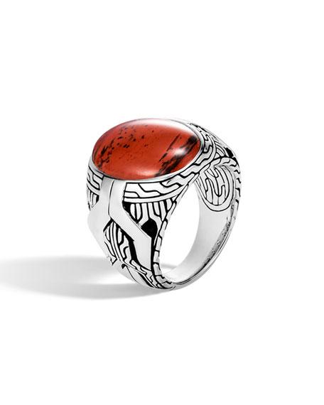John Hardy Men's Classic Chain Signet Ring w/ Red Jasper