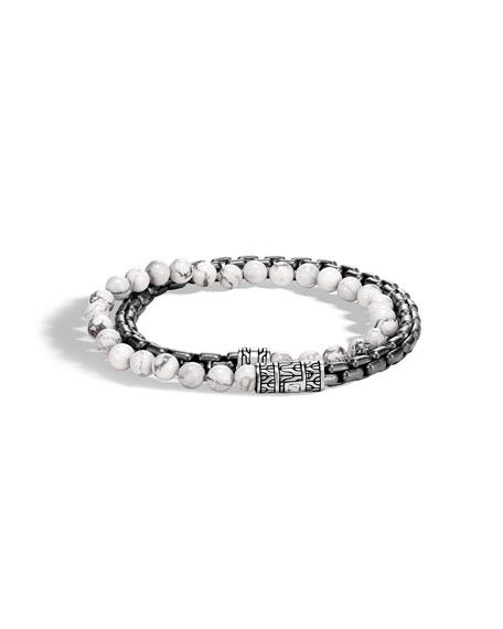 John Hardy Men's Classic Chain Double-Wrap Bracelet w/ Howlite