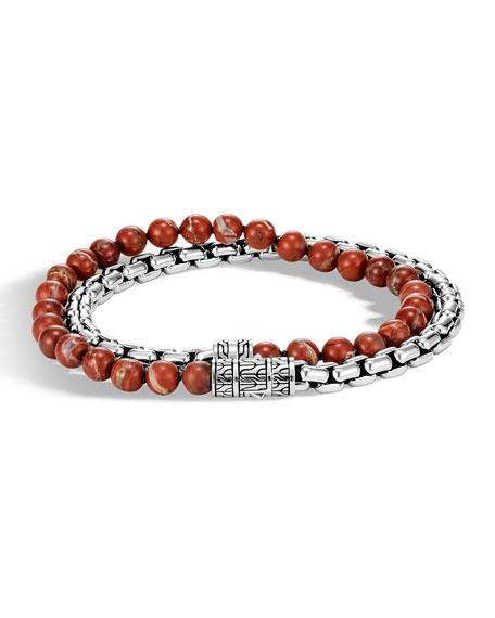 John Hardy Men's Classic Chain Double-Wrap Bracelet w/ Red Jasper