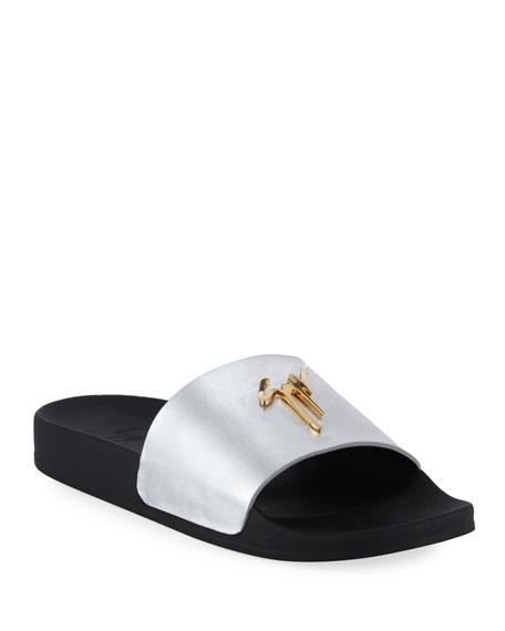 Giuseppe Zanotti Men's Logo Leather Slide Sandals