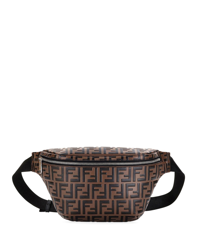 4659891238140 Men's Embossed Leather Belt Bag/Fanny Pack